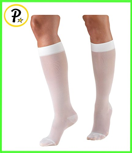 - Presadee White Closed Toe 15-20 mmHg Compression Medical Grade Swelling Leg Maternity Pregnancy Stockings Leggings Socks (Large)