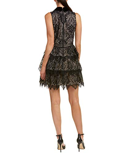 Womens Trim Silk Ellis Dress olivia Line A Black 8 alice pFqR7w