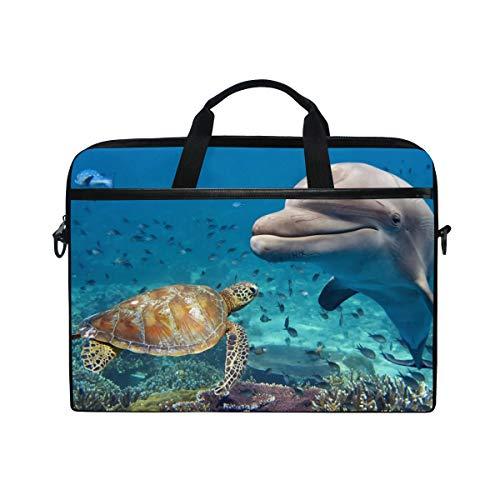 Briefcase Dolphin - Sea Turtle Dolphin Multifunctional Laptop Briefcase Tablet Bag Tote Computer Case Handbag Pouch for Men Women