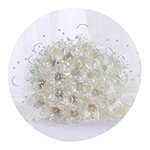 Hot Bridal Bouquets Rose White Rose Wedding Flowers Wedding Bouquets Sparkly Luxury Pearl for Bride Bouquet de Mariage,Same as Photo 116