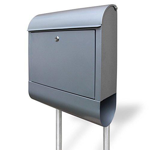 banjado - Briefkasten freistehend Stahl Design Blanko ohne Motiv