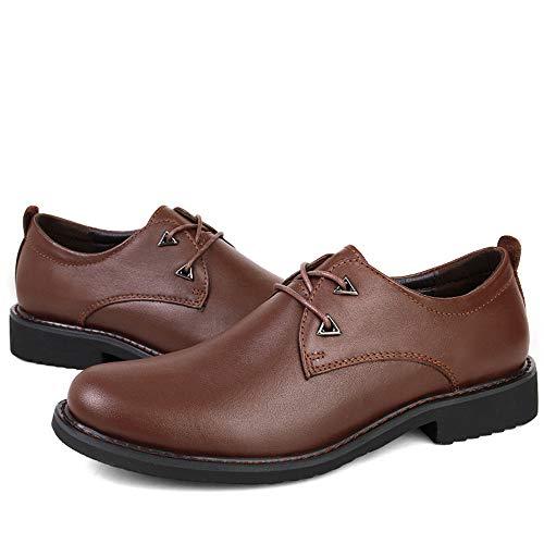 Tamaño Oxfords Y Para 43 Eu Hombres Apragaz Cordones Modernos Cuero Zapatos Negro Redonda Marrón De Punta Vestir Casual Formales color Negocios Con I7wI0UqAW