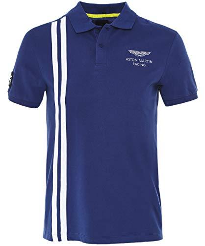 (Hackett Men's Slim Fit Vertical Stripe Polo Shirt Dark Blue L)