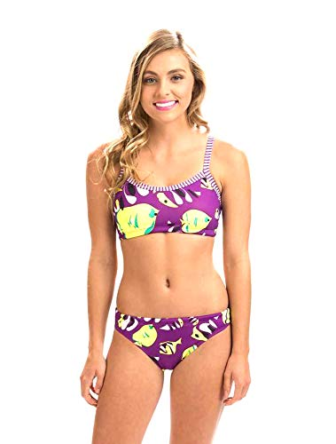 cedfb62b671 Dolfin Women's Workout Two Piece Swimsuit (Fish Tales, Small)