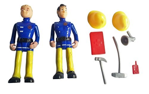[FUNERICA™ Set of 2 large Fireman figures with Fireman accessories and miniatures (Model 3)] (Simple 3 People Costumes)