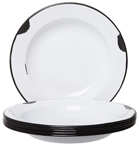 Distressed Enamelware Plates White Body with Black Rim - Set of 6-8 Inch Diameter, Perfect for Picnic, Camping and Outdoor - Enamelware Dinnerware Set