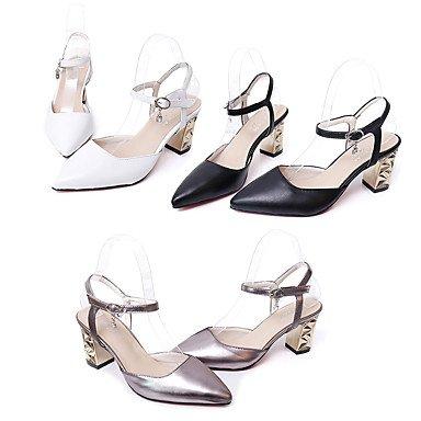 Verano cms Mujer PU Tacón Confort Negro Sandalias Blanco 9'5 LvYuan White Confort 7'5 Robusto Bqg1HIpHxw