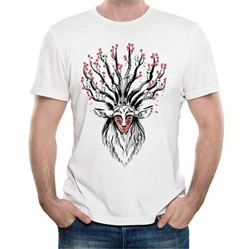 Anime Art The Deer God Sumi-E Men T-Shirt Novelty Wolf Girl Mask Tees XXL ()