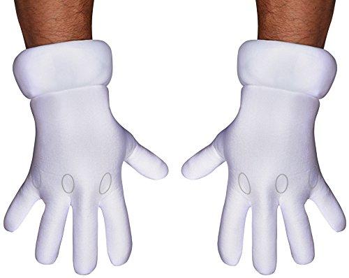 Mario Luigi Wario Halloween Costumes (Disguise Men's Nintendo Super Mario Brothers Adult Gloves Costume Accessory, White, One)
