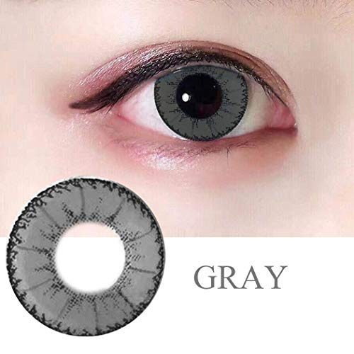 r Cute Charm and Attractive Fashion Contact Lenses Cosmetic Makeup Eye Shadow Gray Color Contact Lenses Halloween Makeup Cosplay Party ()