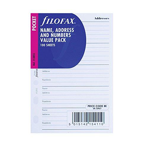 Filofax Pocket Name/Address/Telephone 100 Pack (B213055)