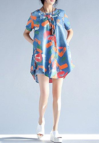 ELLAZHU Damen Sommer Rund Hals Kn?pf Gedruckt Asymmetrisch Bluse Kleid GA790