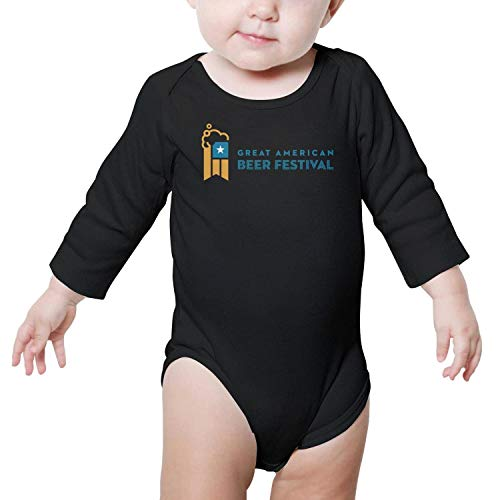 PoPBelle Great American Beer Festival Logo GABF Baby Onesies Black Clothing Long Sleeve Neutral Cotton -