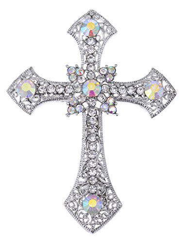 Alilang Holy Anglo Saxon Clear Crystal Rhinestone Christian Cross Jewelry Pin Brooch