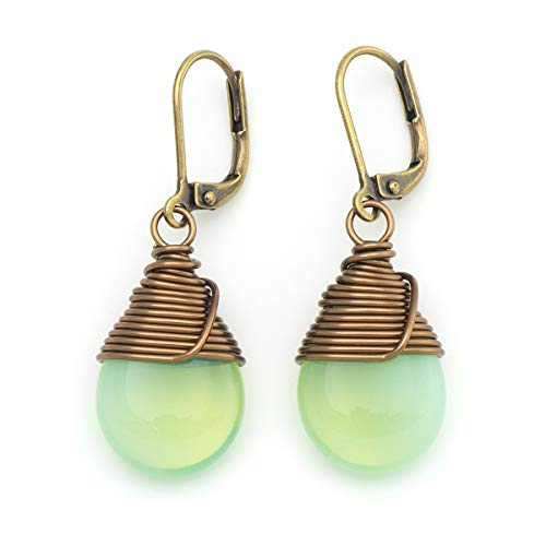 ass wire-wrapped drop antique bronze tone lever-back earrings ()