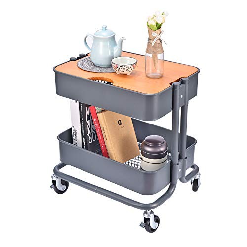 (2-Tier Metal Utility Rolling Cart Storage Side End Table with Cover Board for Office Home Kitchen Organization, Dark)