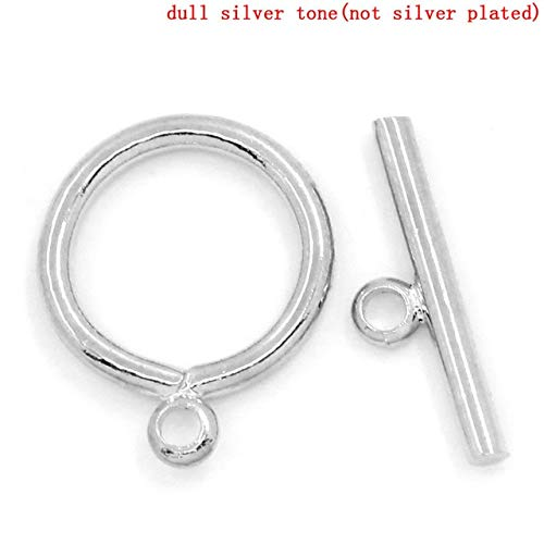 Copper Toggle Clasps Round Silver Tone 15mm x12mm(5/8inches x 4/8inches) 15mm x4.5mm(5/8inches x 1/8inches), 2 Sets New