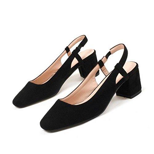 Asian Bombas Mujer Black Medio Coolcept Slingback Zapatos Moda Baile Tacon 40 Size RPwgFBTqa