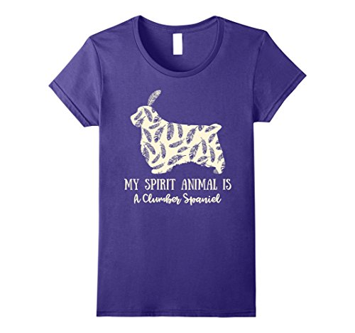 Womens My Spirit Animal Is A Clumber Spaniel Shirt Funny Gift Tee Large Purple