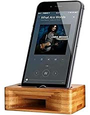 Agreenerway Natural Wood Bamboo Cell Phone Sound Amplifier and Mobile Phone Speaker Dock Stand Portable As A Smart Phone Desktop Holder. Compatable with Phones Less Than 85mm Wide 12mm Thick