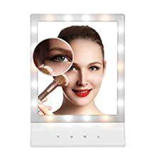 SSFW 18pcs LED Lighted Makeup Mirror,11.8-Inch Large Screen,Touch Dimmable Tabletop Mirror,3 Modes Light Setting Vanity Cosmetic Mirror for Bathroom Bedroom Office Travel Shaving