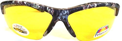 Men Women Unisex Polarized Camouflage Yellow Night Driving Half Frame Sunglasses Eyeglasses, Yellow Lens for Better Night Vision, Black Camo (Microfiber Pouch - Eyeglass Frames Camo
