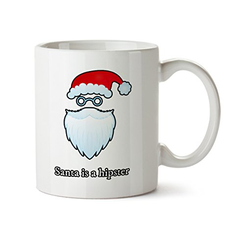 - Santa Is a Hipster Funny New Year Design Porcelain Coffee Mug -11 oz- Happy Holidays Gift