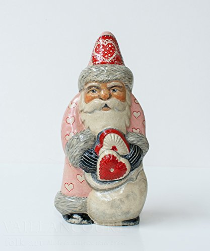 Vaillancourt Folk Art Valentine Heart Santa, used for sale  Delivered anywhere in USA