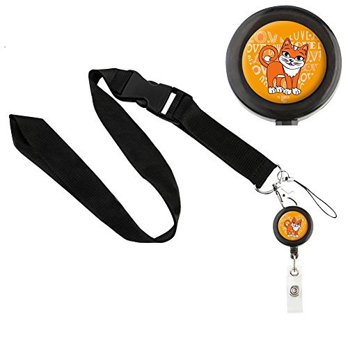 Translucent Retractable Badge Holder Reel Key Chain Reel with Black Lanyard for Key Cards and ID Cards LOVELY CAT (Black Reel & Black - Oakley Gardens Victoria