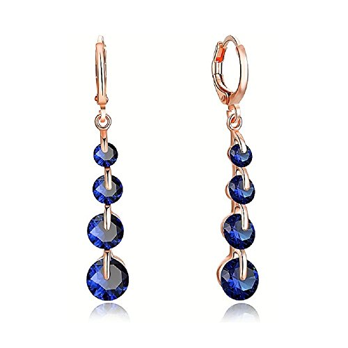 LiveSublime Rose Gold Brilliant Cut Austrian Crystal Drop Dangle Earrings (dark sapphire blue)