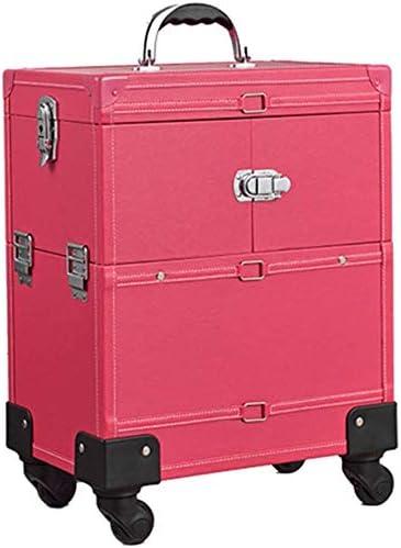 BYCDD Maleta de Maquillaje Profesional, Estuche Cosméticos Organizador Maletín Maquillaje Trolley Belleza Carro para niñas cosmética Caja,Pink: Amazon.es: Hogar