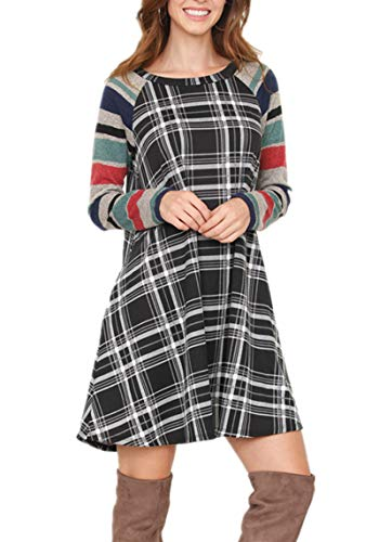 Vrkufie Women's Color Block Long Sleeve Casual Loose Plaid Tunic T-Shirt Dress with Pockets,Style 2 Mulit Black,XL -