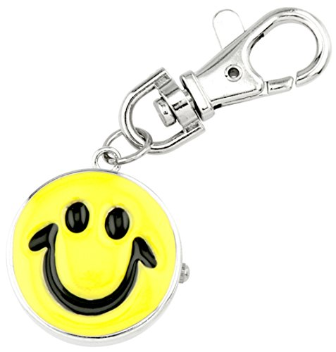 Watch Men Smiley Face (JAS Unisex Novelty Belt Fob/Keychain Watch Smiley Face Silver Tone)