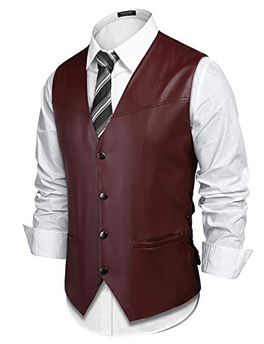 (COOFANDY Mens Vintage Leather Motorcycle Biker Vest Single-Breasted Casual Jacket Vests,Wine Red,X-Large)