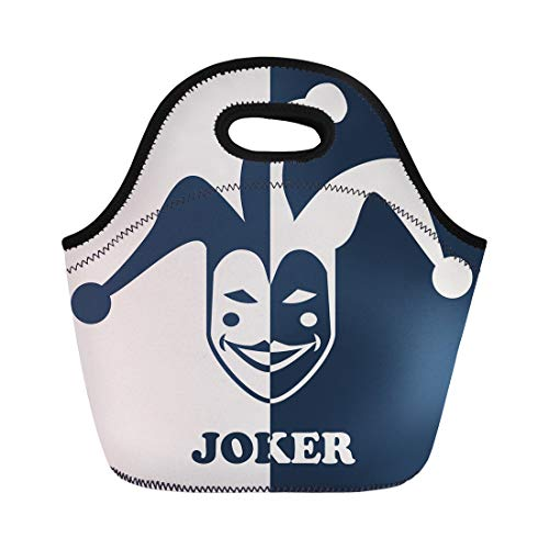 Semtomn Lunch Tote Bag Hat Joker Symbol Jester Face Mask Poker Party Casino Reusable Neoprene Insulated Thermal Outdoor Picnic Lunchbox for Men Women