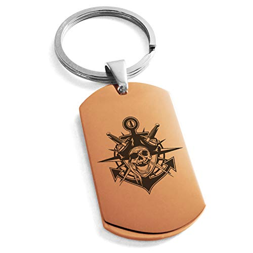 - Tioneer Rose Gold Stainless Steel Jolly Roger Pirate Skull Anchor Engraved Dog Tag Keychain Keyring