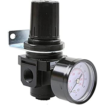 1 Air Compressor Pressure Regulator with Gauge and Wall Mounting Bracket