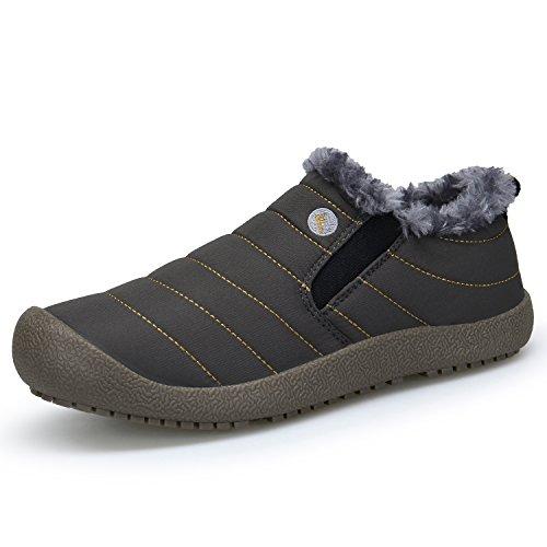Boots Stivaletti da Donna Inverno Scarp Pelliccia Grigio Stivali Stivali Piatto Neve DENGBOSN Impermeabile xpz4wSqTx8