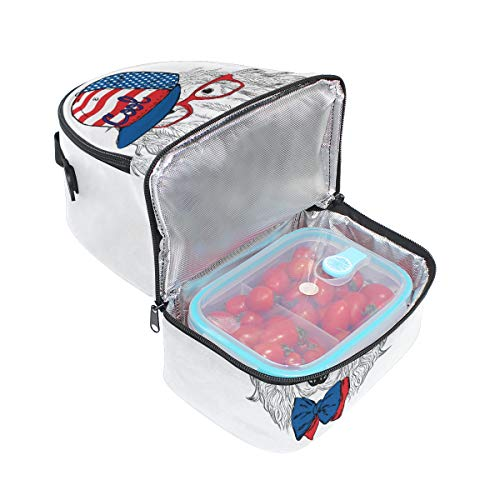 Top Carpenter Lunch Box Adult Lunch Bag Insulated Food Storage Containers Spaniel Dog Cap Tie Double Deck For -