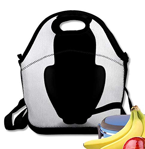 Starobos Neoprene Lunch Bag Tote Reusable Insulated Waterproof School Picnic Printed Head Black Cat White Silhouette Halloween Outline Profile