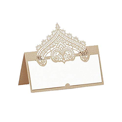 60pcs Wedding Table Name Place Cards Personalised Reception Decoration with Chanmpagne Lace Crown Pattern Cardstock for Wedding Favors,Party