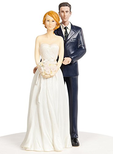 Wedding Collectibles Stylish Contemporary Bride and Groom in Navy Suit Wedding Cake Topper