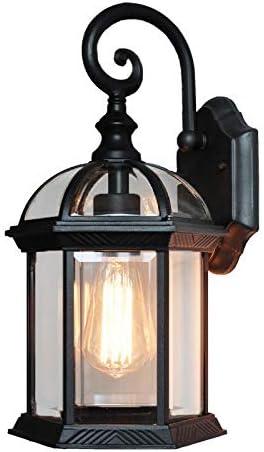 Pouluuo Farol de metal, lámpara de pared para jardín, con lámpara y brazo rodante negro/latón/negro: Amazon.es: Iluminación