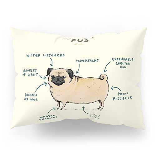 Society6 Anatomy Of A Pug Pillow Sham Standard (20'' x 26'') Set of 2 by Society6