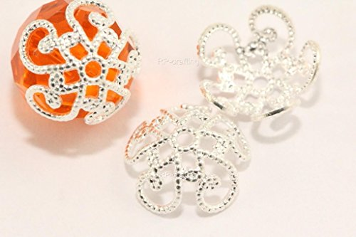 Swarovski Bead Caps (20 Flower Filigree Bead Cap 10mm Sterling silver plated Copper)