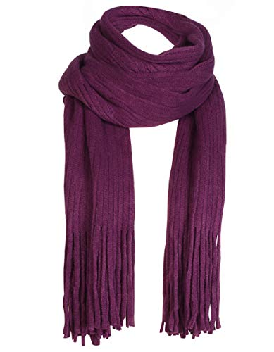 - Women Men Winter Thick Cable Knit Wrap Chunky Warm Scarf All Colors Fringe Plum