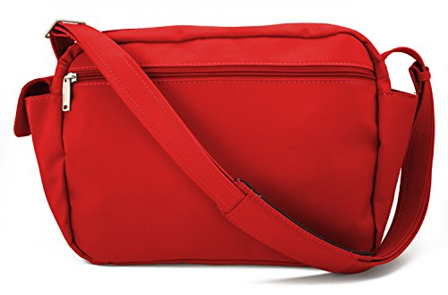 BeSafeBags by DayMakers 9 Pocket Traveler Anti-Theft Security Bag, Red Microfiber