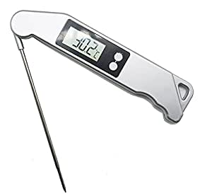 Meta-U Light Hanging Function Large Screen Cooking Thermometer- Multiple Uses Collapsible Internal Probe Design Temperature Gauge For BBQ Family Party Plastic Silver (1PCS)