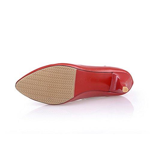 BalaMasa da donna, tomaia a punta fibbia kitten-heels gomma pumps-shoes, Rosso (Red), 35