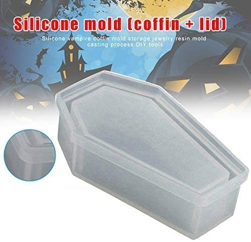 Silicone Coffin Mold Storage Jewelry Mould Casting Craft Halloween DIY Tool GJPZ Resin Casting Storage Box Mould